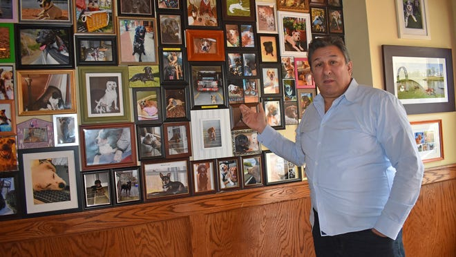 Robert Knebel, owner of 2 Railroad Ave. in the Village of Goshen, shows the dog photos that customers of the Fetch Bar & Grill have been asking him to return, following the abrupt closure of the restaurant by Adam Powers on Feb. 29. Knebel said he has signed papers for police to file criminal mischief charges against Powers.