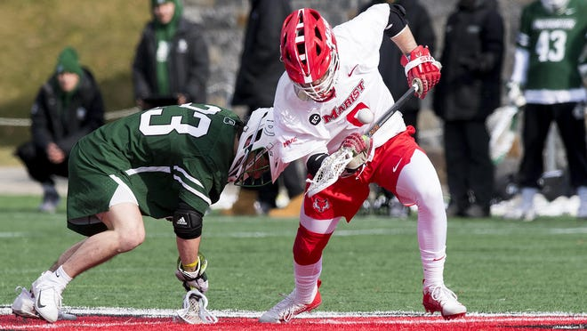 Marist College's Peyton Smith, right, was chosen by the Boston Cannons of Major League Lacrosse.