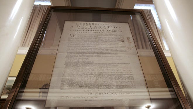 A copy of the Declaration of Independence is seen at the Chapin Library of Rare Books and Manuscripts at Williams College in Williamstown, Mass.