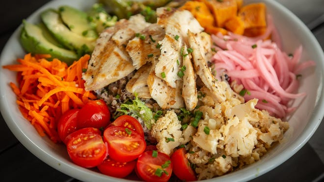 A hearty salad at Alaina's Cafe and Bake Shoppe in Palm Beach Gardens. Owners Alaina Sabatello-Witherell and husband Brent Witherell recently reopened the newly expanded cafe.