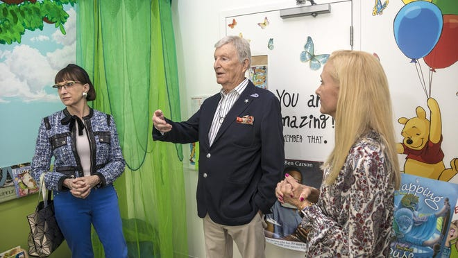 Fiji Water founder and philanthropists Jillian and David Gilmour, who have donated millions and dedicated themselves to opening the Opportunity Early Childhood Learning Center in Westgate, in the Carson Reading Room with Ali Eger, executive director of the center, Jan. 16, 2020.