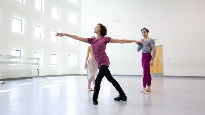 "Miami City Ballet Artistic Director Lourdes Lopez rehearses George Balanchine's ""Tschaikovksy Pas de Deux"" with dancers Katia Carranza and Carlos Quenedit at the company's studios in Miami Beach.  The organization launched the public phase of a $55 million fund-raising campaign this week."