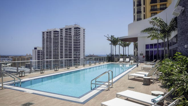 Pool deck located on the 13th floor of the newly opened Canopy hotel in downtown West Palm Beach, May 21, 2020.