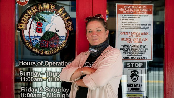 Kim Kelly has owned Hurricane Alley for 25 years in Boynton Beach, Florida on August 20, 2020.