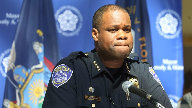 Rochester Police Chief La'Ron Singletary answers questions during a recent press conference after protests held in memory of Daniel Prude.