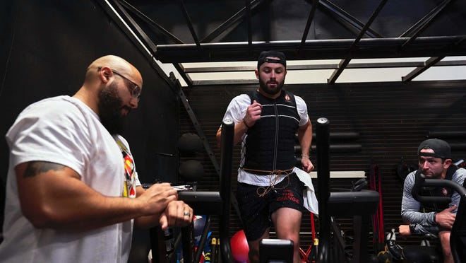 Browns quarterback Baker Mayfield trains under the guidance of strength and conditioning coach CJ McFarland at Onnit Sports Performance in Austin, Texas. On the right is Baker Mayfield's brother, Matt Mayfield.
