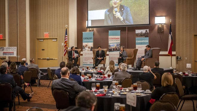 Tech's Lawrence Schovanec, Lori Rice-Spearman and Tedd Mitchell were guest speakers at the Lubbock Chamber's luncheon on Thursday.