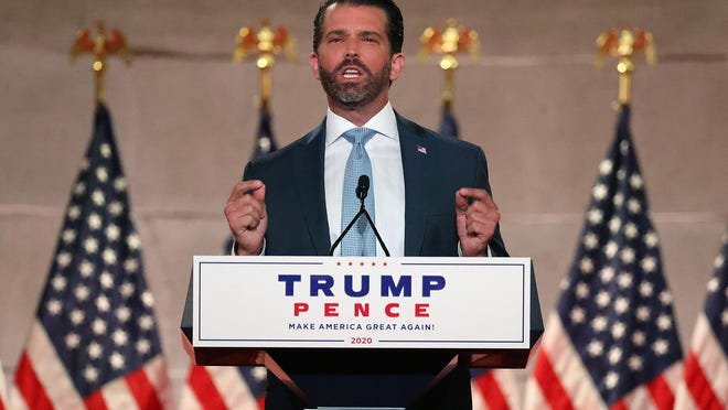 Donald Trump Jr. pre-records his address to the Republican National Convention at the Mellon Auditorium on Aug. 24, 2020 in Washington, D.C.