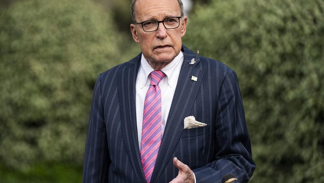 Director of the National Economic Council Larry Kudlow speaks to members of the media outside the White House on April 7, 2020 in Washington D.C.