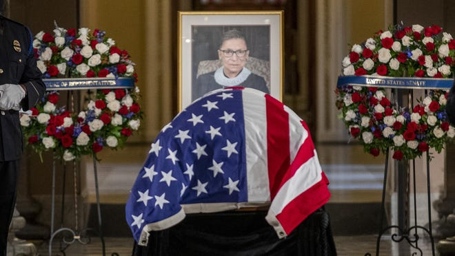 Justice Ruth Bader Ginsburg lies in state in Statuary Hall of the U.S. Capitol in Washington on Friday, Sept. 25, 2020.