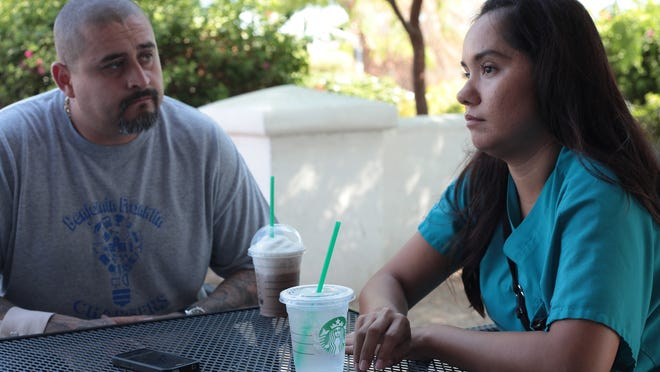 Ricardo and Adrianna Aceves discuss their child being left inside a school bus unaware by officials until the child was seen inside the bus at the school bus yard in Thermal.