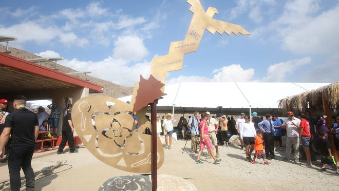 A sculpture created by a Palm Springs High students in honor of Richard M. Milanovich was unveiled at the Hike for Human Rights.
