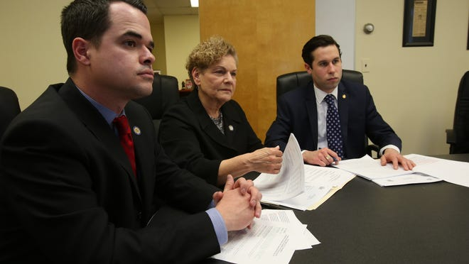 From left, Sen. David Carlucci, Assemblywoman Ellen Jaffee and Assemblyman Kenneth Zebrowski discuss their oversight bill for East Ramapo at Zebrowski's office Wednesday.