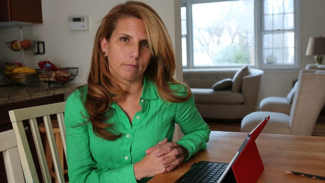 Rye teacher Carin Mehler, at her home on Jan. 7, was reassigned there by the Rye School district. The district has yet to bring charges against her, and district taxpayers are paying her full salary and benefits to keep her at home.