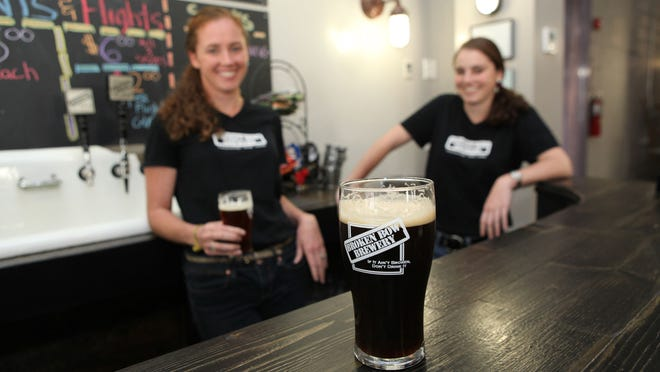Sisters Kristen Stone, left, and Kasey LaMothe at Broken Bow Brewery, which opened in Tuckahoe in 2013.