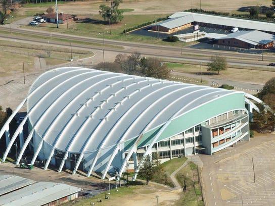 Aerial views of  Garrett Coliseum, Montgomery.