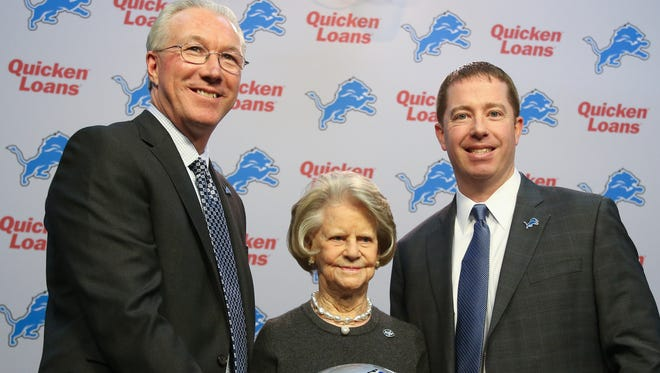 Lions president Rob Wood, owner Martha Firestone Ford and  the new general manager Bob Quinn at the team's news conference on Monday at the Allen Park practice facility.