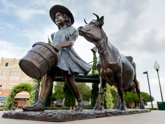 A statue based on the Blue Bell logo is displayed at