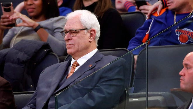 New York Knicks president Phil Jackson watches from the stands during the second half of the Knicks' NBA basketball game against the New Orleans Pelicans at Madison Square Garden in New York, Monday, Jan. 9, 2017.  The Pelicans won 110-96.