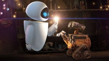 """WALL·E, M-O, and EVE in a scene from """"WALL-E"""" (2008)."""