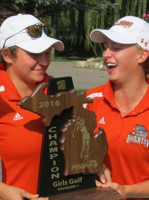 Heather Fortushniak (left) and Annie Pietila led Brighton to a regional golf championship, aiding their All-State candidacies.