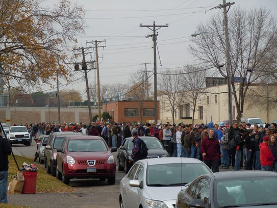 A line outside Darkness Day 2014.