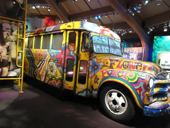 A colorful bus at the Bethel Woods Center for the Arts.