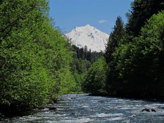 Mount Jefferson rises above the North Santiam River.