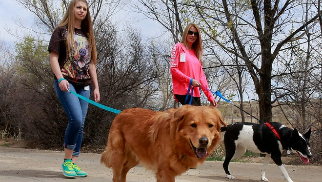 Emma Kinsey, left, and her mom, Michelle Kinsey, walk dogs from the Farmington Regional Animal Shelter on Thursday at Animas Park.