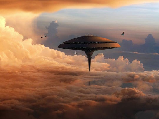 """This image shows a scene from """"Bespin,"""" a """"Star Wars Battlefront"""" DLC."""