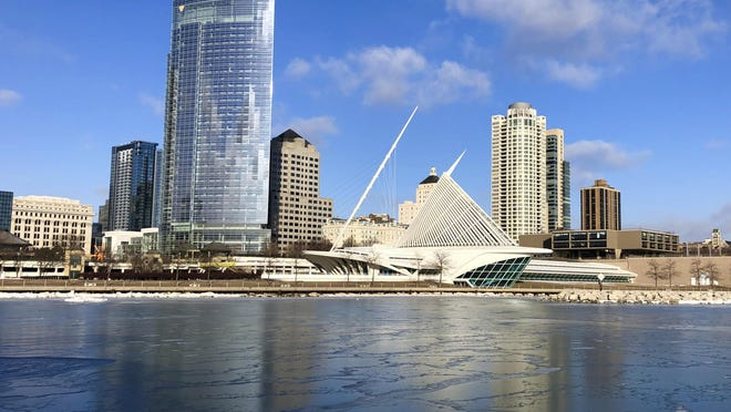 This Feb. 8, 2019 photo shows a view Milwaukee's skyline along Lake Michigan. Democrats selected Milwaukee to host their 2020 national convention Monday, setting up the party's 2020 standard-bearer to accept the presidential nomination in the heart of the old industrial belt that delivered Donald Trump to the White House.