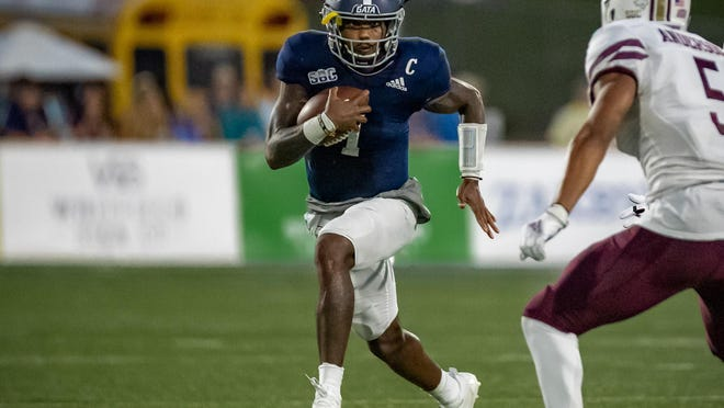Georgia Southern Eagles quarterback Shai Werts during the game Nov. 14 against the Texas State Bobcats at Paulson Stadium n Statesboro.
