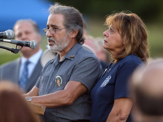 Vincent and Loretta Viglione of Parsippany, brother-in-law and sister of FDNY firefighter Tommy Sabella speak during the Morris County September 11th remembrance service and candlelight vigil at the Morris 9/11 Memorial. September 11, 2016, Parsippany, NJ