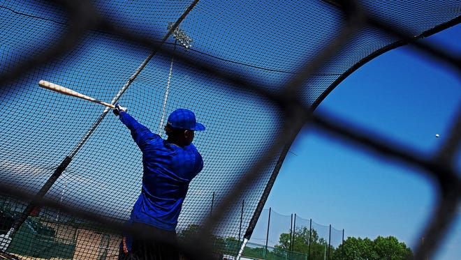 Sioux Falls Canaries' Burt Reynolds takes batting practice Tuesday, May 16, 2017, at Sioux Falls Stadium in Sioux Falls.