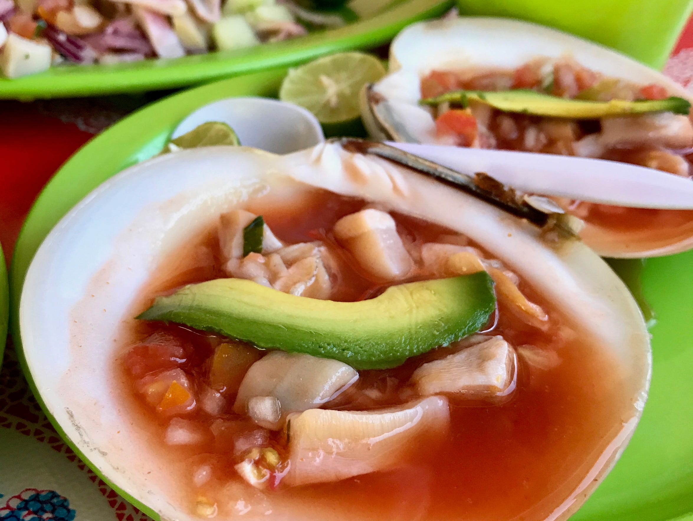 At Mariscos El Calamar Gigante, clam cocktails are