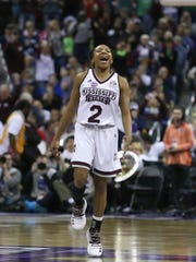Mississippi State's Morgan William (2) celebrates as