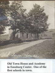 The first town hall and academy built in 1839 on the town common in Enosburgh.