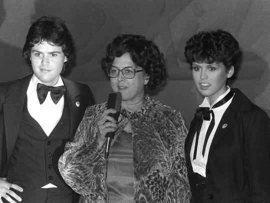 Donny and Marie Osmond pose with their mother, Olive,