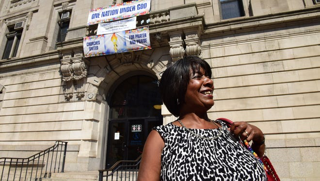 Interim Paterson Mayor Ruby Cotton, seen arriving at City Hall on Sept. 25 for her first day, says she has no hard feelings toward the former city clerk who has been appointed mayor.