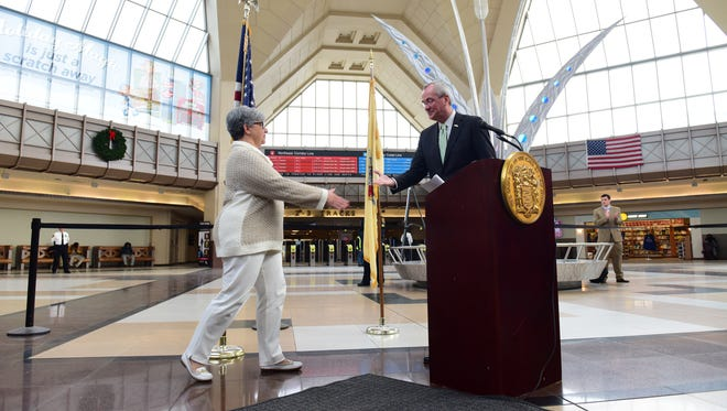 Gov.-elect Phil Murphy announced his nomination of Diane Gutierrez-Scaccetti  to lead the Department of Transportation at Secaucus Junction on Dec. 20, 2017.