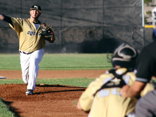 Gary Burns releases a pitch Saturday evening at the Griggs Sports Complex.