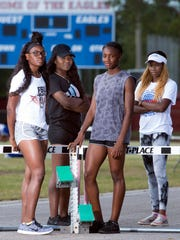 After finishing fourth at the Florida State Relays, L to R:  Michaela Thompson, Shaniya Sanders, Catera Smith, and Nykeria Lee, of the Pine Forest Girls Track team are looking forward to extending their winning season at Friday's Andrews Institute Track Meet in Gulf Breeze.
