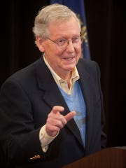 U.S. Senate Majority Leader Mitch McConnell speaks