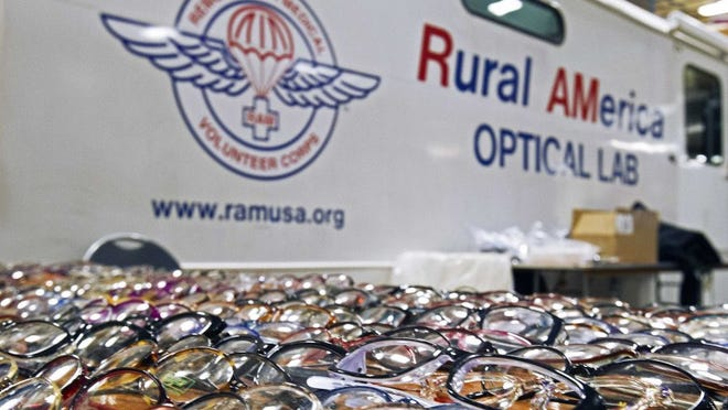 Glasses were available for eye patients during a Remote Area Medical event at Chilhowee Park on Feb. 6, 2016.