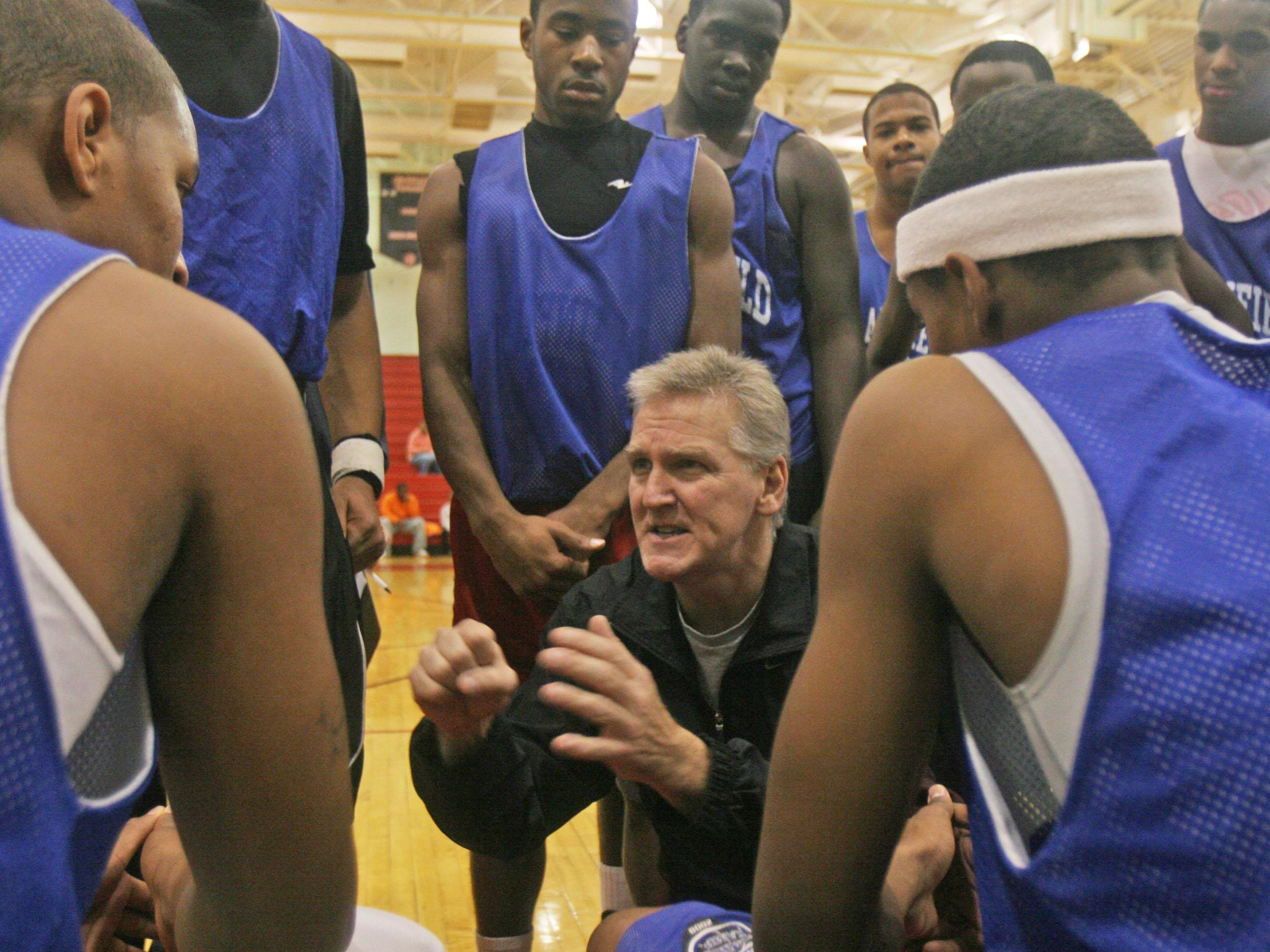 In this 2008 file photo, Rahway High School boys basketball coach Jeff Lubreski instructs players while serving at the helm at Plainfield High School.