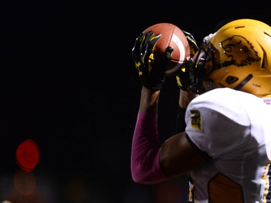 Red Lion's Kendrick Boyd-Gillespie catches the winning touchdown during a game earlier this month at Central York. The Lions host Dallastown on Friday night. (Kate Penn -- GameTimePA.com)