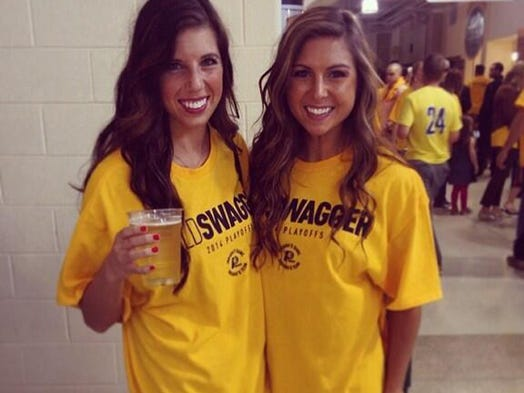 """Tammy Tucker shared this photo of Kaley and Lauren in their """"Gold Swagger"""" T-shirts. Got a photo to share? Tweet @heycori or @indystar, or email heycori@indystar.com."""