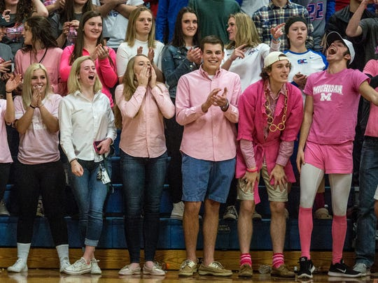 St. Clair students cheer while dressed in pink during the Pink Halo Project charity basketball game, Jan. 28, 2017 at St. Clair High School.