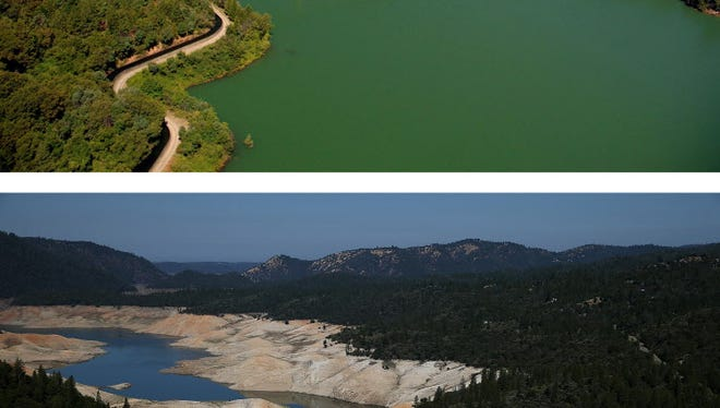 Top: Near the Bidwell Marina in July 2011 in Oroville, Calif. Bottom: A section of Lake Oroville that is nearly dry on Aug. 19.