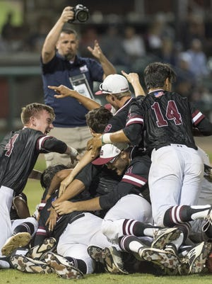 Mt. Whitney players celebrate their win over Redwood in a Central Section Division II championship high school baseball game on Friday, May 26, 2017.